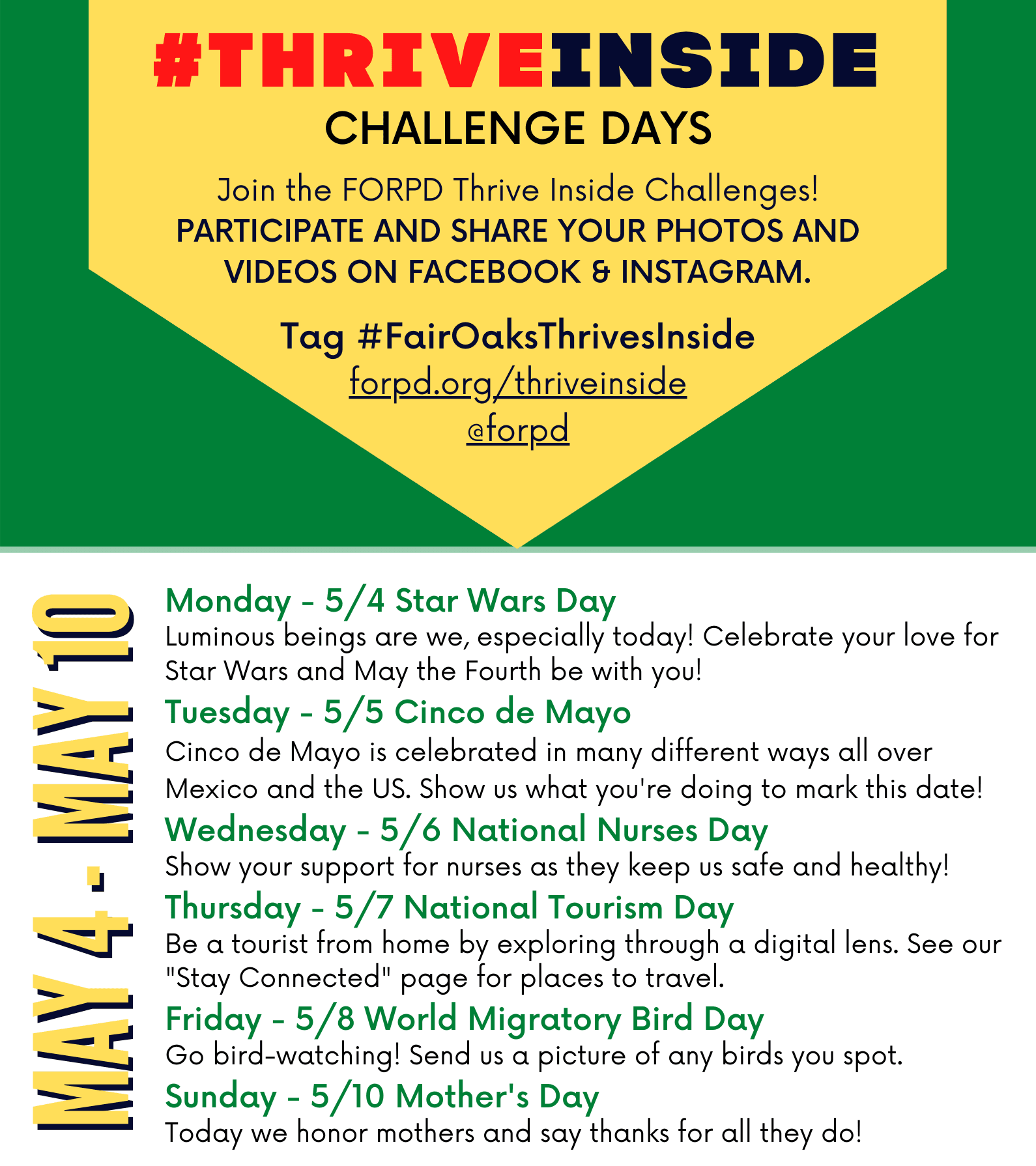 FairOaksThrivesInside Challenge Days May 4-10