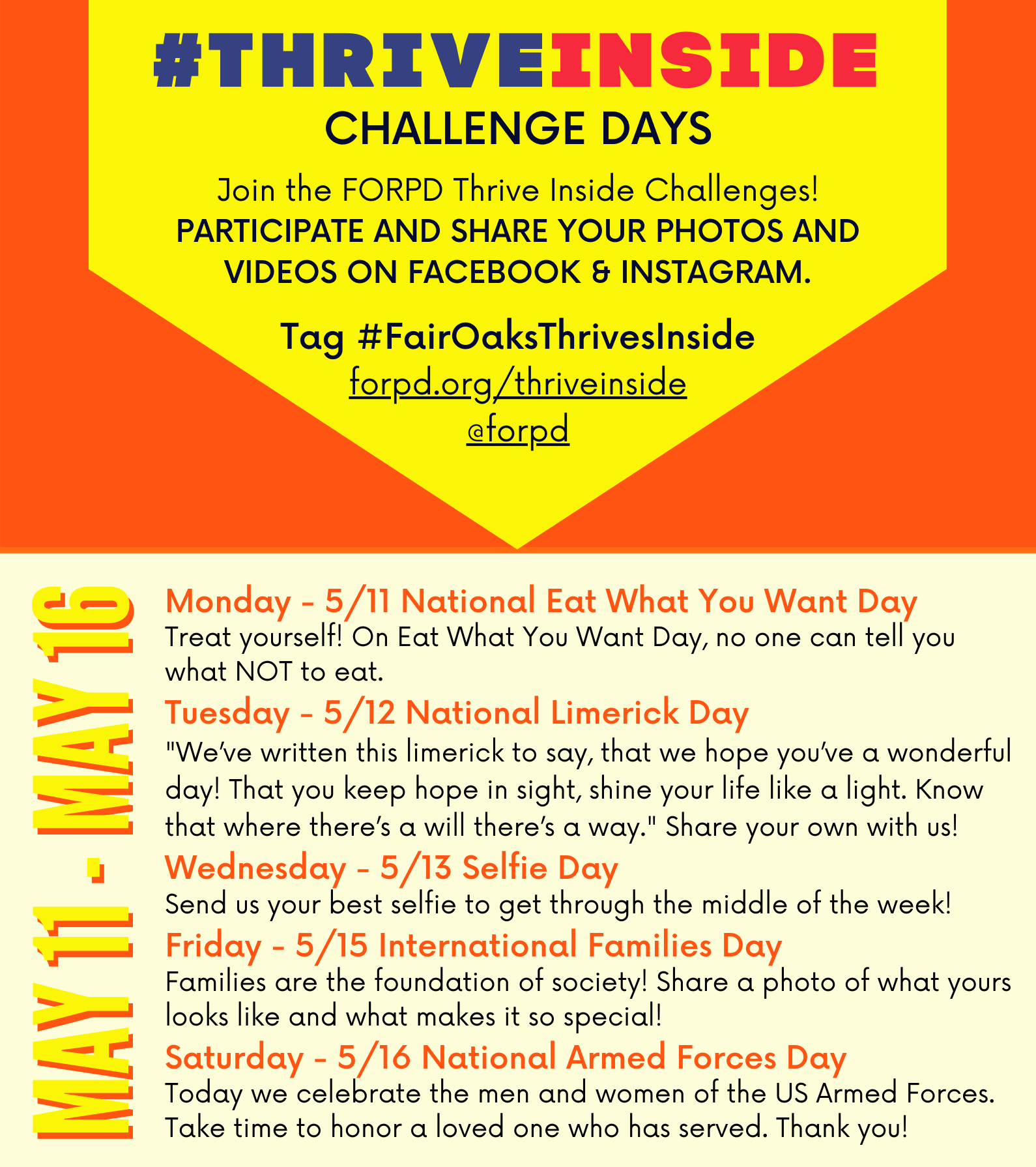 FairOaksThrivesInside Challenges May 11-16