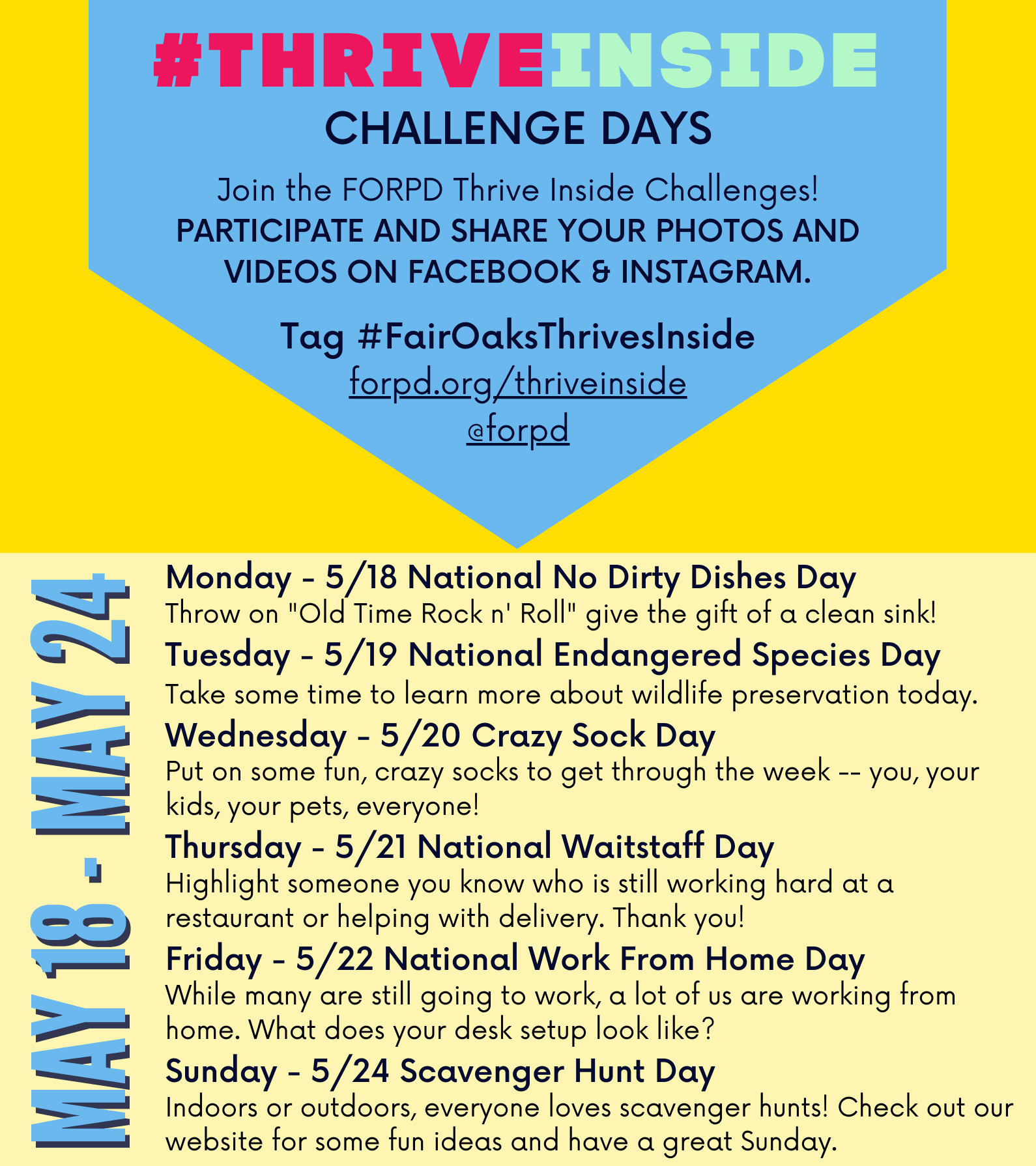 FairOaksThrivesInside Challenges May 18-24