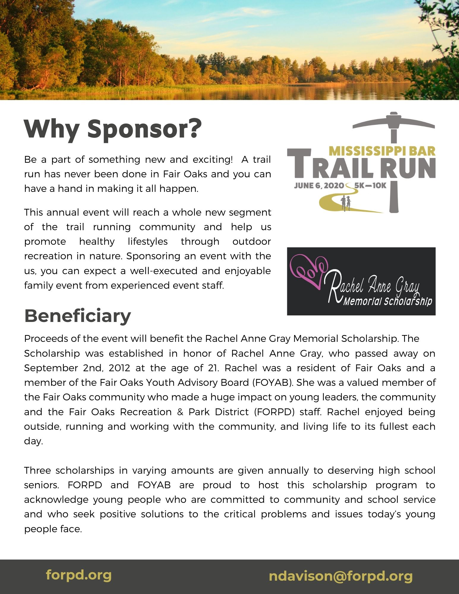 Trail Run Sponsorship Packet